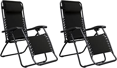 Zero Gravity Chair Outdoor Porch Patio Recliner Seats Comfortable Adjustable Padded Headrests Durable Textilene Fabric Adjustable Backrest w/ Dual Finger Tip Locking System - Set of 2 Black #1941