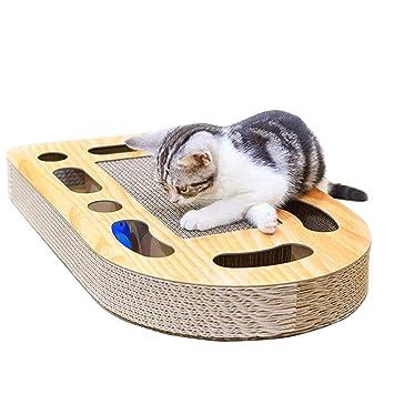 HLMF Gato rasguño Tablero Corrugado cartón rasguñar Interactivo Interior Puzzle Caja Juguete órbita arañazos