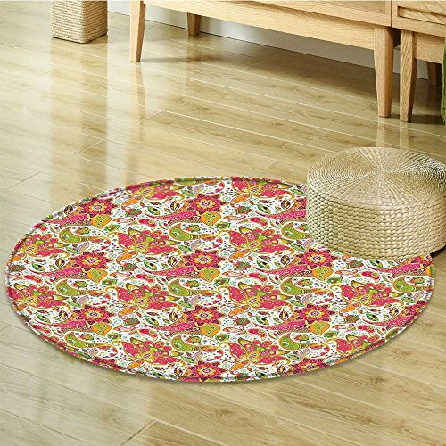Batik Decor Circle carpet by Nalahomeqq Ethnic Paisley Motifs with Spring Blossoms and Fresh Exotic Fantasy Artwork Fabric Room Decor non-slip Green Pink-Diameter 160cm(63
