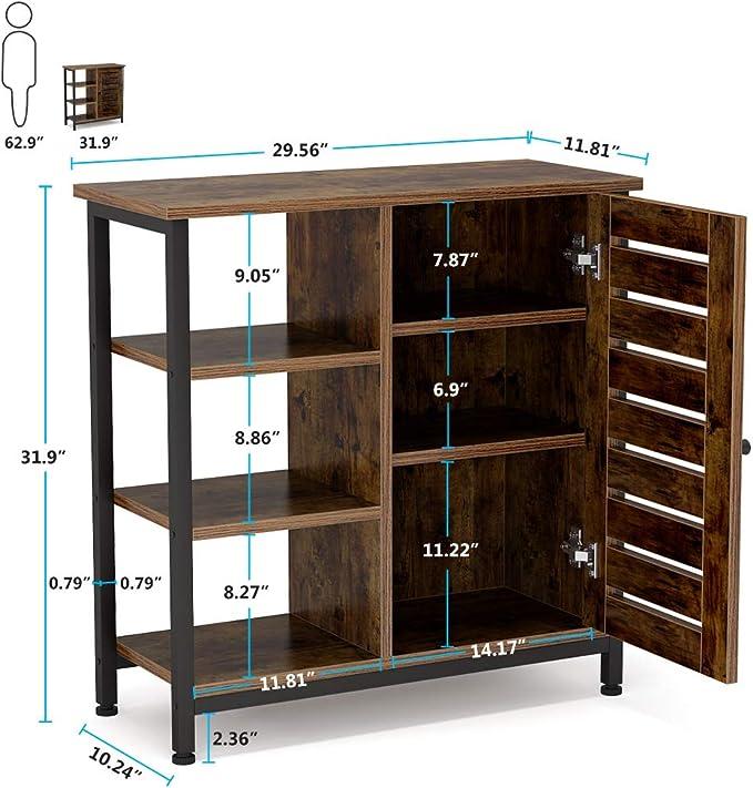 Design Industriel Chambre Cuisine Couloir Buffet avec 3 /étag/ères et Placard pour Salon Armoire au Sol Tribesigns Armoire de Rangement
