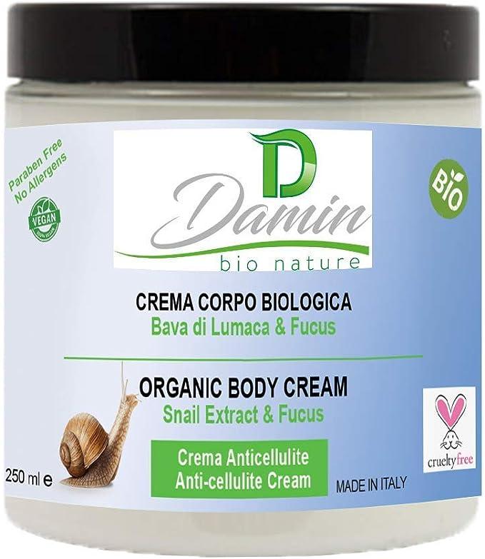 Damin Bio Nature - Crema Corporal Hidratante Natural con Baba de Caracol Cacao y Café - Sin Alcohol Organica Tratamiento Anticelulítica Reafirmante ...