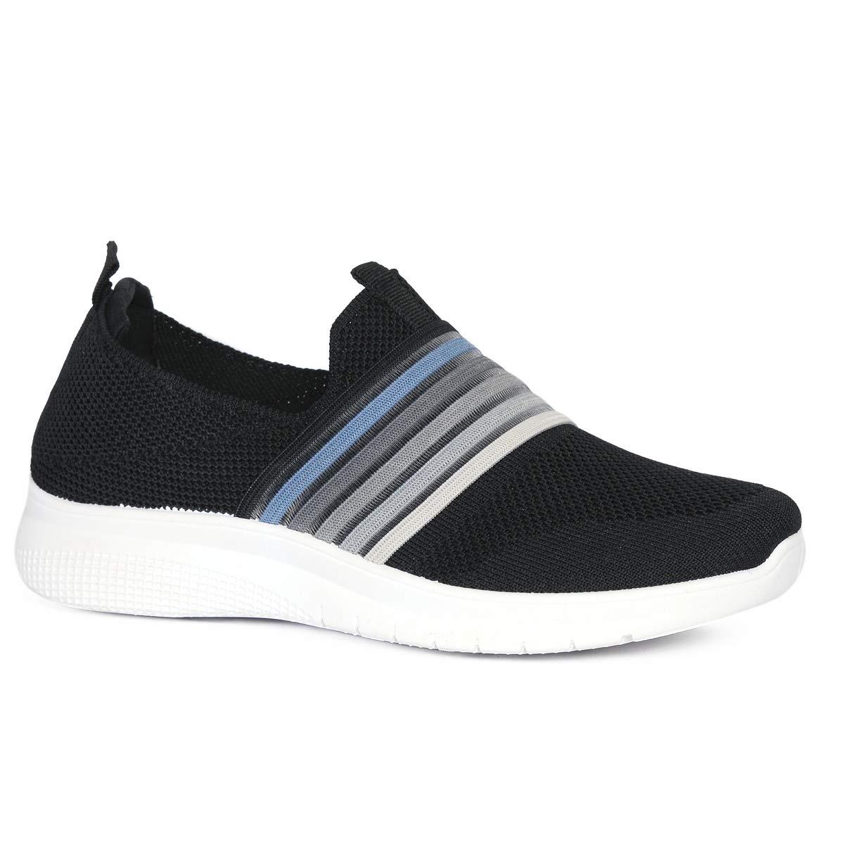 black slip on walking shoes