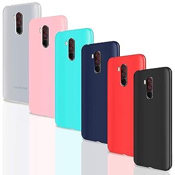 Leathlux 6X Funda Xiaomi Pocophone F1, Carcasas 6 Juntas Ultra Fina Silicona TPU Gel Protector Flexible Colores Case Cover para Xiaomi Pocophone ...
