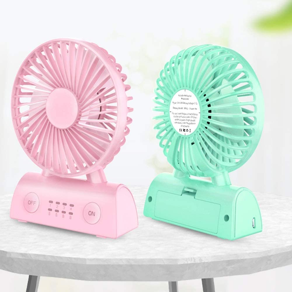 Color : A Qi Peng USB Small Fan Mini Rechargeable Student Dormitory Bed Mute Handheld Portable Bed Home Computer Office Desktop Wind Portable Charging Treasure Small Fan 5V-0.5A 4W