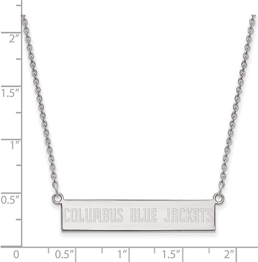 Solid 925 Sterling Silver Official Columbus Blue Jackets Small Bar Pendant Necklace Charm Chain