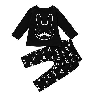 Freshzone 2Pcs Toddler Boy Girl Rabbit Print Long Sleeve Pants Bunny Outfits Clothes