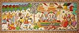 Gopis Prevent Krishna from Leaving Vrindavan - Paata Painting on Tussar Silk Fabric - Folk Art from Puri