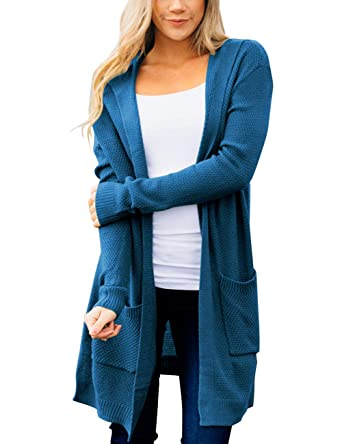 778d671f324a MEROKEETY Women s Long Sleeve Open Front Hoodie Knit Sweater Cardigan with  Pockets Blue