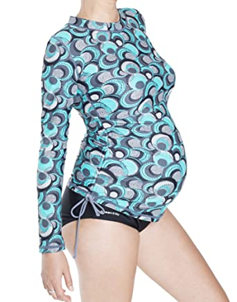 674c84b57b268 Oceanlily UV Protection Women's Rash Guard Maternity Swimwear Cover Up Aqua  at Amazon Women's Clothing store: