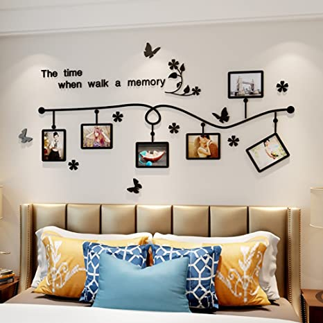 Amazon Com Wall Stickers Removable Wall Decal Self Adhesive Art Photo Frame Decals 3d Acrylic Mural Painting Supplies And Wall Treatments Stickers For Living Room Bedroom Marriage Room Home Decoer Home Kitchen