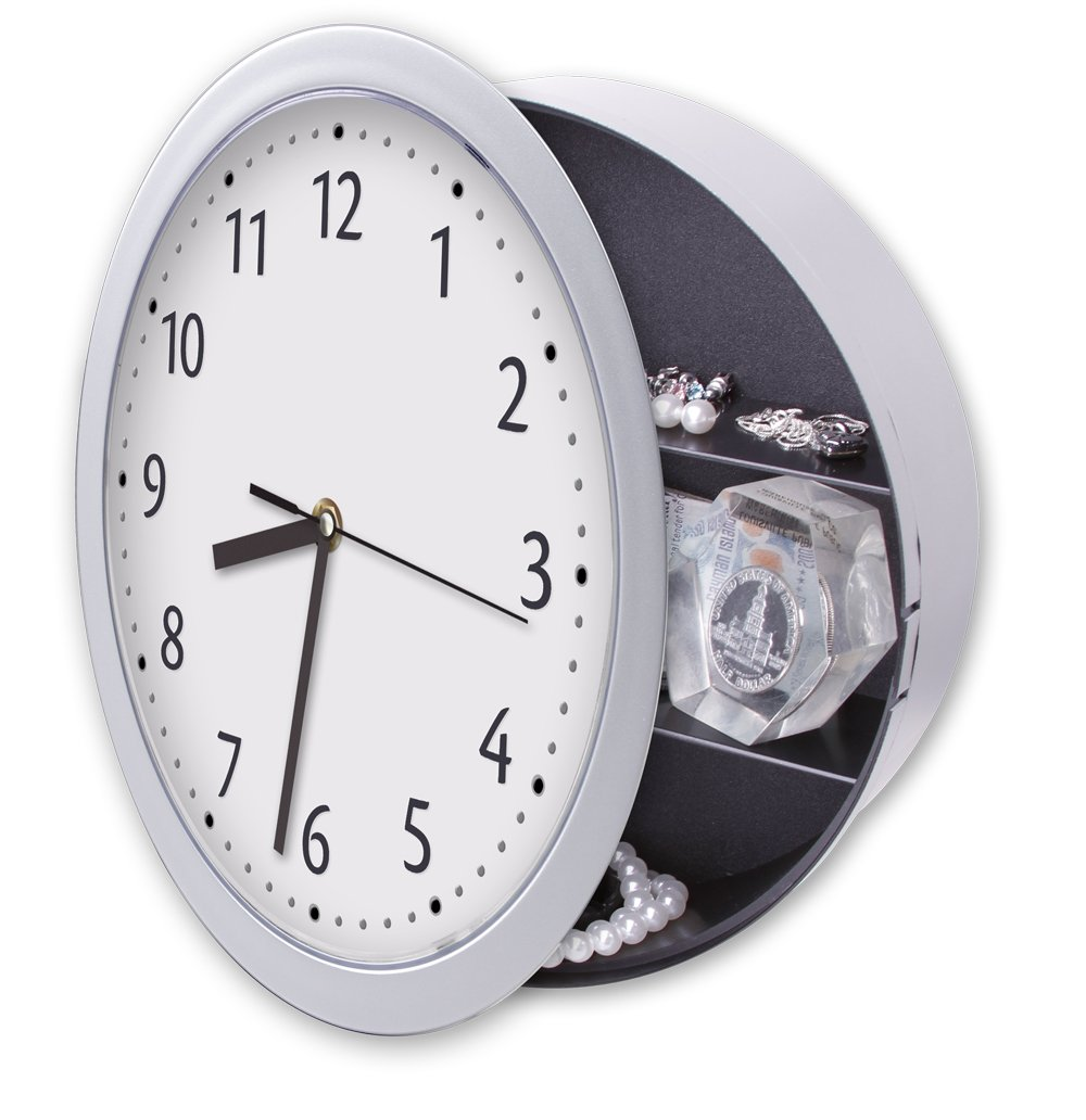 Amazoncom Meridian Point Wall Clock with Hidden Safe Home Kitchen
