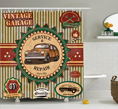 1960s Cream Vintage (Ambesonne 1960s Decor Shower Curtain Set, Collection of Vintage Retro Car Label in Faint Color Sixties Dated Irony Pop Art Work, Bathroom Accessories, 84 Inches Extralong, Green Red Cream)