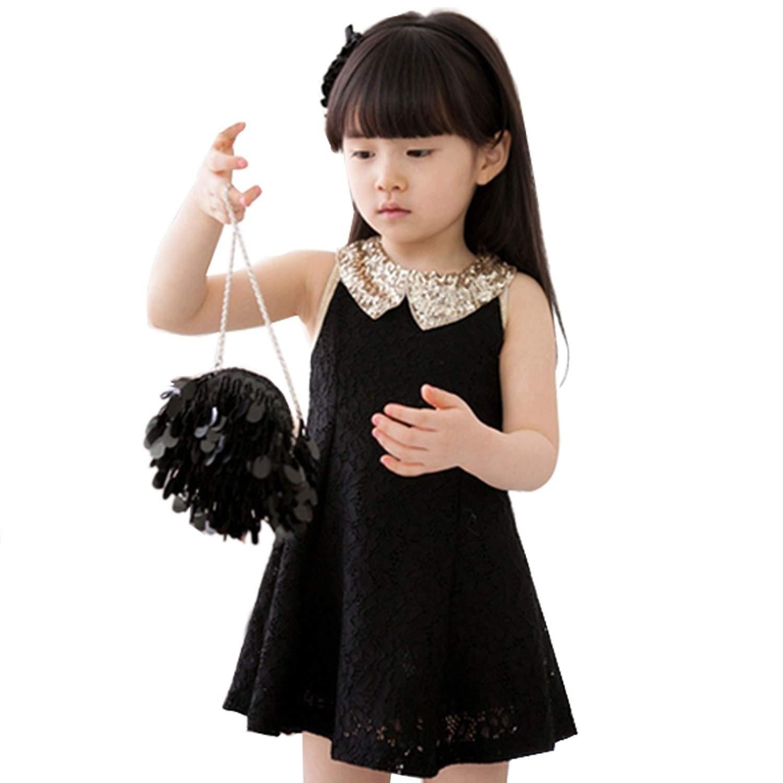 Kids Dresses for Girls Dress Baby Kids Childrens Girls Lovely Sequins Collar Sleeveless Lace Vest Dress Princess,Black,6