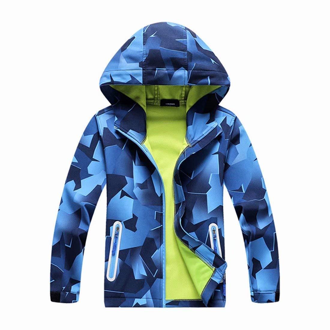 OLEK Boys Rain Jackets Outdoor Waterproof Windproof Jacket Raincoat Light Windbreaker for Camping Hiking Running by OLEK
