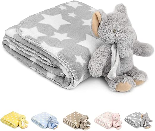 Luxury Reversible Soft Coral Cuddle Fleece Fabric Material ELEPHANT STARS PINK