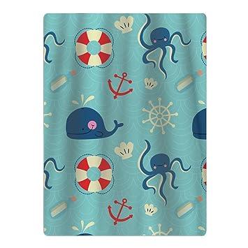 Toalla de playa de microfibra con elementos náuticos de dibujos animados, apta para piscina, playa, camping, mantas de playa: Amazon.es: Hogar
