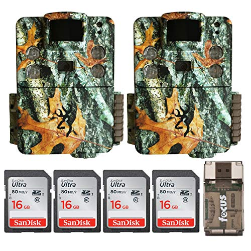 Browning Trail Cameras Strike Force Pro X 20MP IR Game Cam 2-Pack with Four 16GB Memory Cards and Focus Card Reader