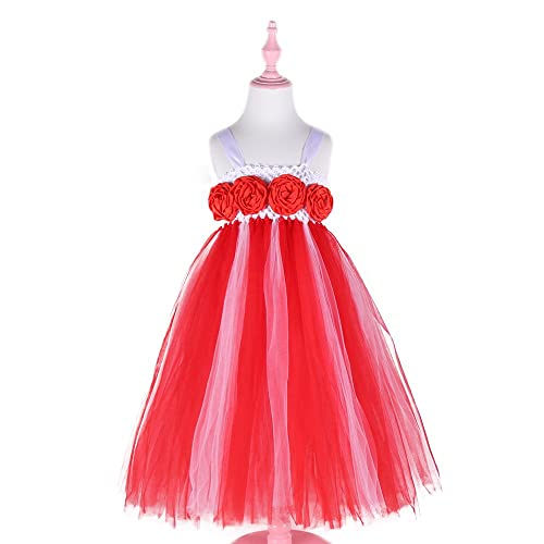 7ba38779d5e Amazon.com  White and Red Princess Girls Tulle Tutu Dress with Rose Flowers  Girls Dresses for Christmas Wedding Birthday Party  Handmade