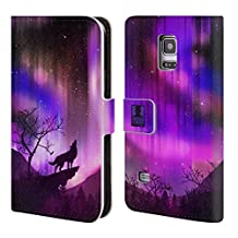Head Case Designs Purple Howling Wolf Northern Lights Leather Book Wallet Case Cover For Samsung Galaxy S4 I9500