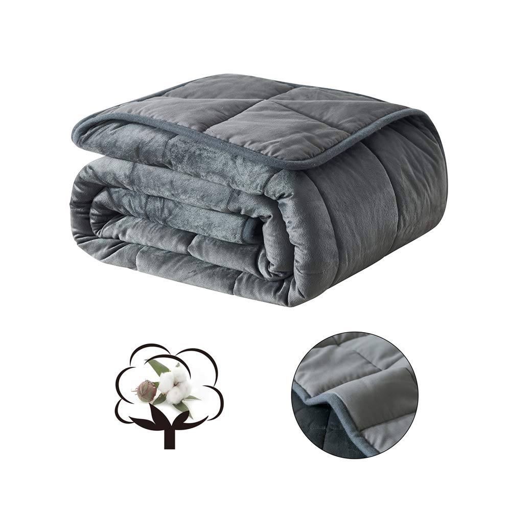 COSYBAY Breathable Weighted Blanket-Dark Grey Heavy Blanket for Adult-100% Cotton Top and Plush Bottom with Glass Beads (15 lbs-48×72'')