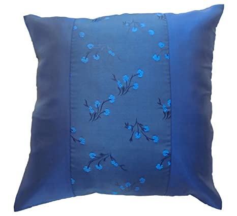 Amazon.com: By soljo Azul Seda tailandesa diseño de flores ...