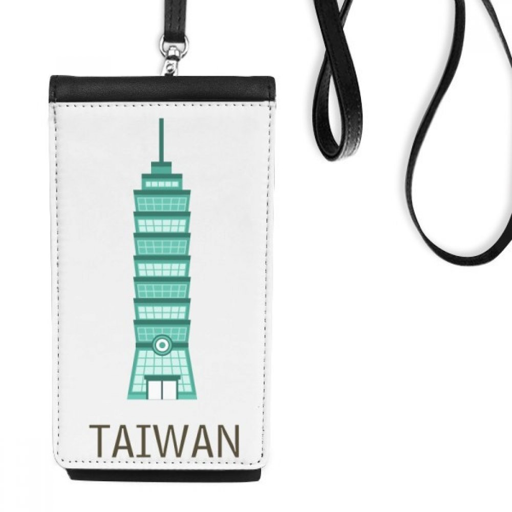 Taiwan Attractions 101 Building Travel Faux Leather Smartphone Hanging Purse Black Phone Wallet Gift