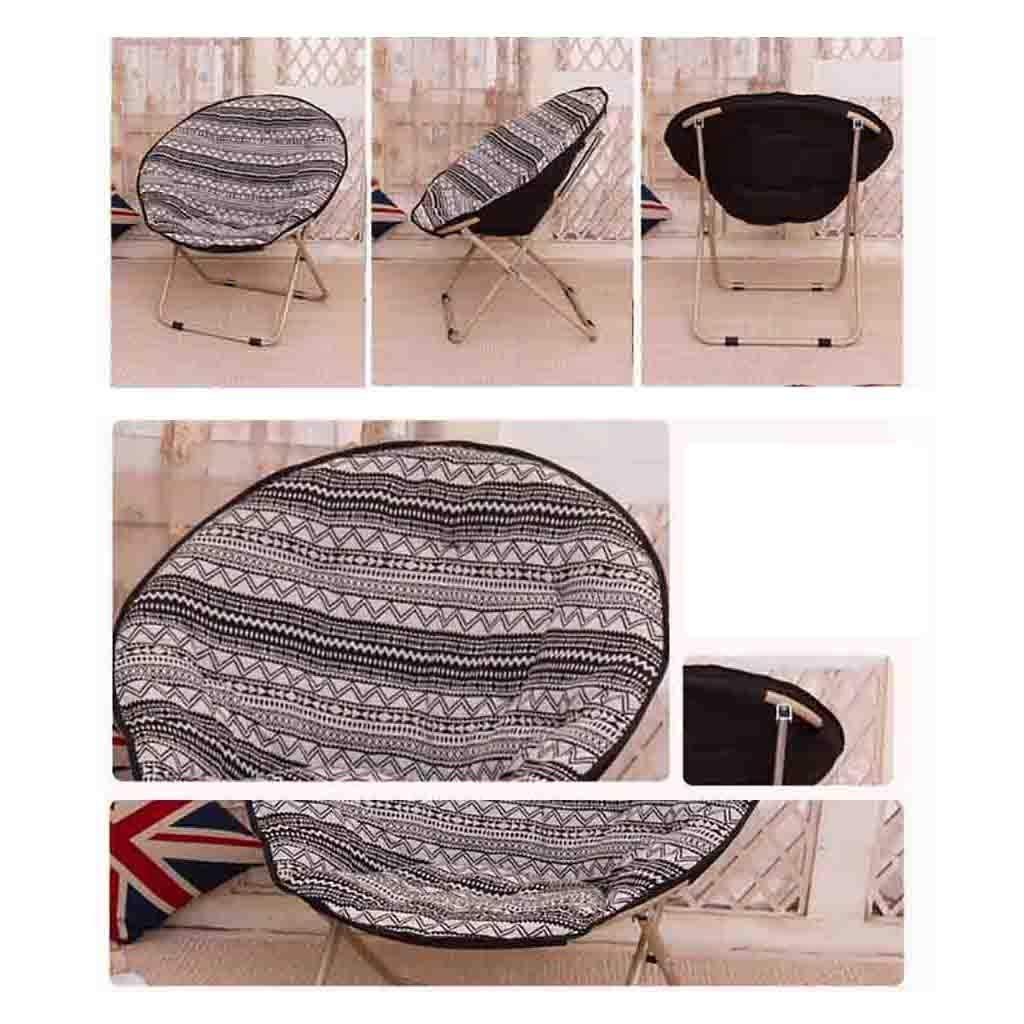 ZWJLIZI Hopfällbar stol hushåll avtagbar rengöring vuxen måne stol/solstol/lat stol/fritidsstol rund stol/fåtölj (färg: B) a