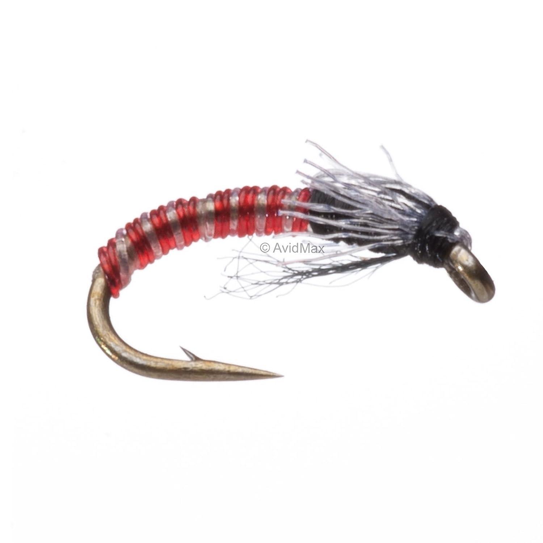 24 GO TO  PATTERN Purple Zebra Midge Nymph Fly with wing  sz