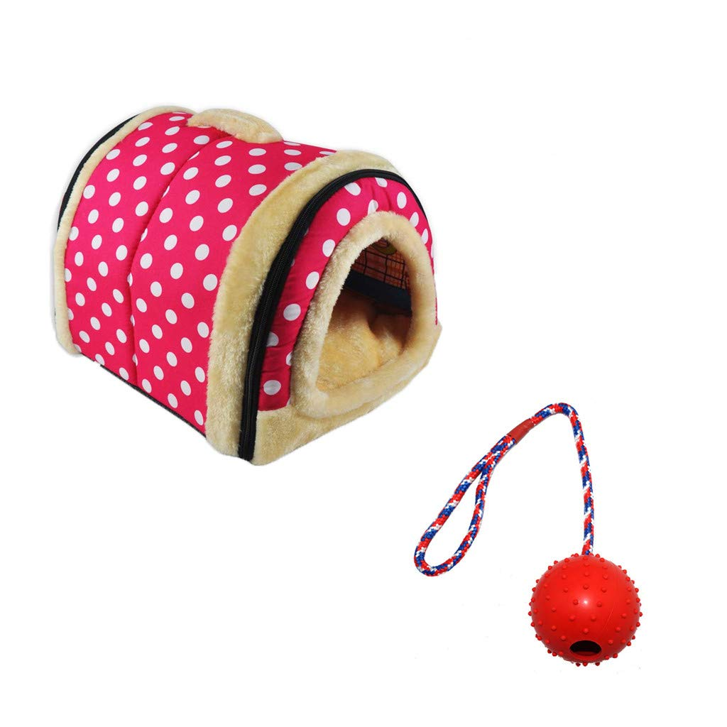 L Vacally 2 in 1 Dog House Bed Cat Puppy Rabbit Pet Sofa Warm Soft Pet Nest Kennel Pet Supplies for Dog Puppy Cat
