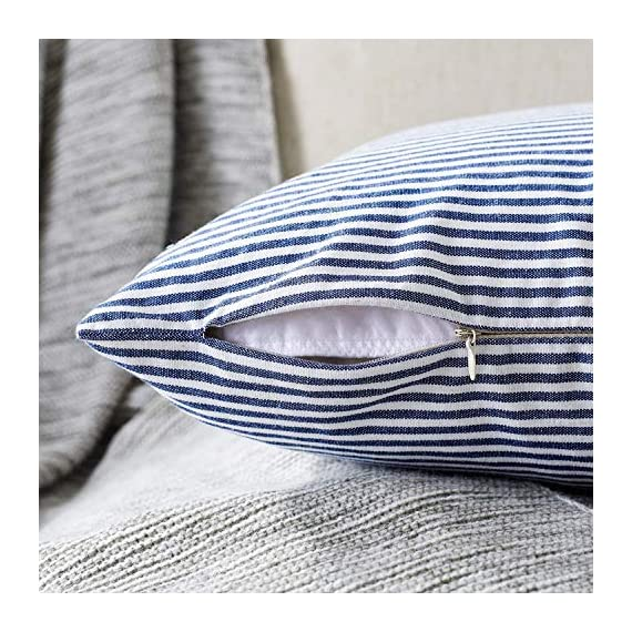 """Shamrockers Farmhouse Striped Throw Pillow Cover Decorative Cotton Linen Ticking Stripe Cushion Pillowcase (18""""x18"""", Navy, Pack of 2) - Material: 100% Cotton Linen & Imported; Features: Invisible Zipper, Sturdy and Smooth, Large 16 Inch (approx.) opening for EASY INSERTION and removal of pillows, Tight zigzag over-lock stitches to avoid fraying and ripping. Double sewing at 4 sides with the tear-proof design. Its hard to be tore and durable; Design & Occasion: Same design / pattern on BOTH SIDES of these blue and white throw pillow covers, make a modern and natural look to your room. Suitable for Sofa, Bed, Home Decor, Office, Car. - patio, outdoor-throw-pillows, outdoor-decor - 61ofwWBMrML. SS570  -"""