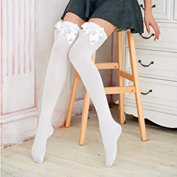 e1c289d56e60b Cheap4uk Ladies Sexy Hold Up White Stockings with White Bows Fancy Dress  Xmas Christmas Party Costume