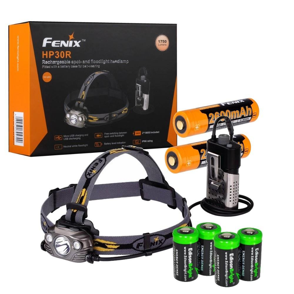 Fenix HP30R 1750 Lumen CREE LED Headlamp (Iron Grey) with 2 X Fenix 18650 Li-ion rechargeable batteries and Four EdisonBright CR123A Lithium batteries bundle