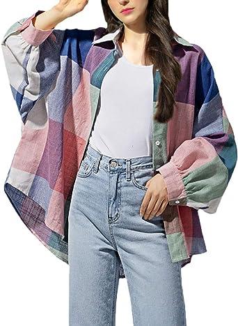 Camisa Mujer Vintage Fashion Anchas A Cuadros Blusa Camisas Señoras Primavera Otoño Elegantes Ropa Manga Larga De Solapa Un Solo Pecho Informales Chic Camicia Bluse Tops: Amazon.es: Ropa y accesorios