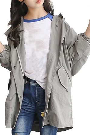 EMIN Mädchen Baby Kids Trenchcoat Frühling Herbst Jacken Mantel Outwear  Beiläufig Mit Kapuze Baumwolljacke 865fe6556a