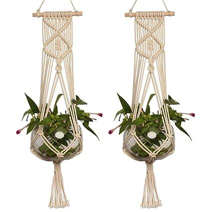 Macrame Plant Hangers Vasi Di Grandi Dimensioni Cesto Appeso Con Corda A Mano Supporto Da Parete Per Interni A Forma Di Vaso Carrello Portavaso Boho