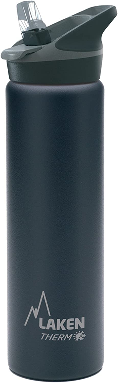 Laken Jannu Botella Térmica Acero Inoxidable 18/8 y Doble Pared de Vacío, Unisex adulto, Negro, 750 ml