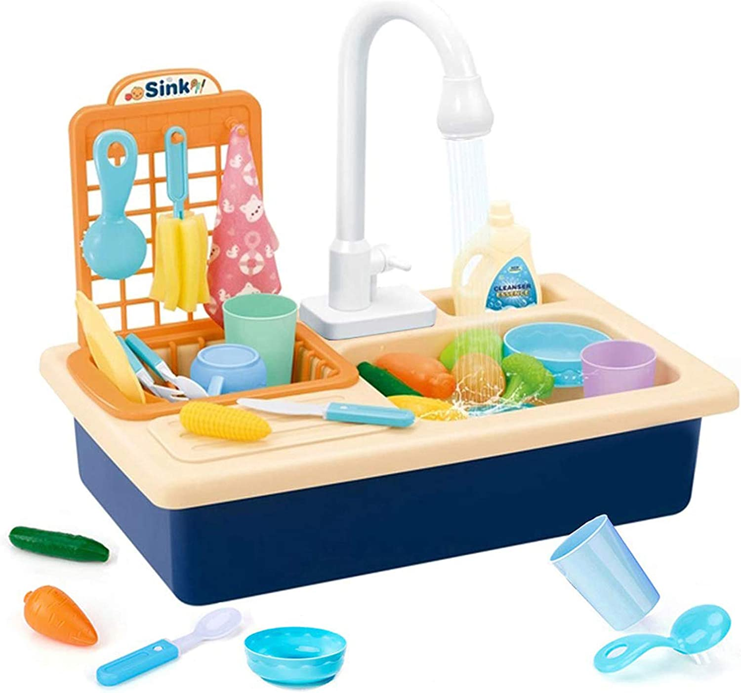 Amazon Com Play Kitchen Sink Toy With Running Water Pretend Role Play Automatic Water Cycle System Realistic Light And Sound Dish Rack And Tableware Food Accessories Dish Sink Toy For Toddlers Kids Blue Toys