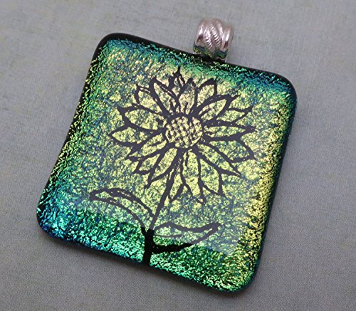 Large gold peach green engraved sunflower fused dichroic glass pendant sterling silver bail (Dichroic Fused Jewelry Glass)