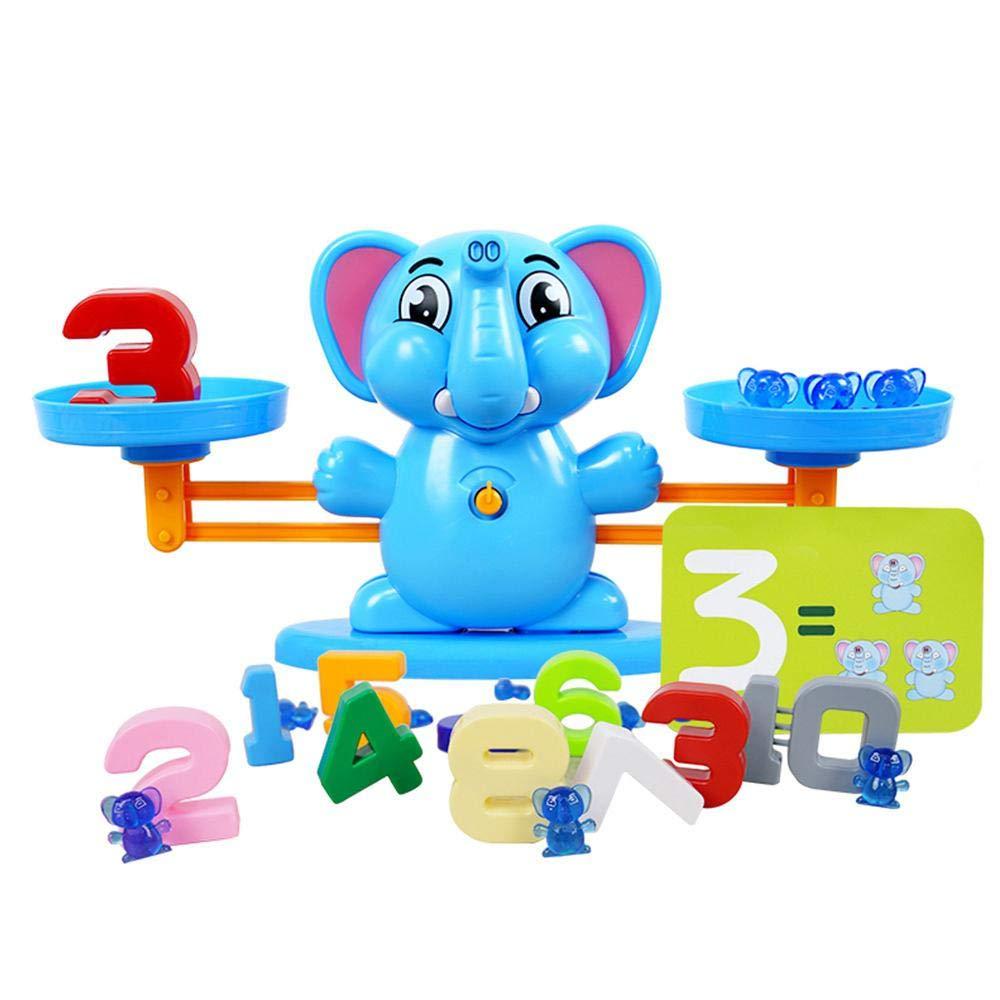 AOLVO Lernspielzeug Balance Waage Spielzeug, Elefant Balance Stacker mit Präzision Schule Mathematik Balance/Farb-Spielzeug, Kinder Lernspielzeug, Lernspielzeug, Balance Auto Balancing, PVC, Blau