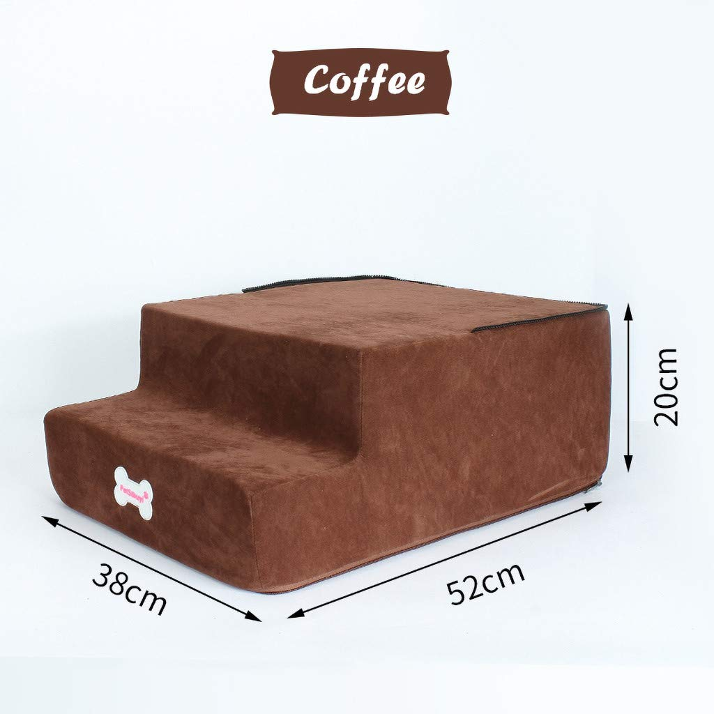 High Density Foam Pet Stairs 3 Steps with Machine Washable Zippered Removeable Micro-Fiber Cover with Non-Slip Bottom Khaki Pet Bed Cat Dog Ramp Pet Stair