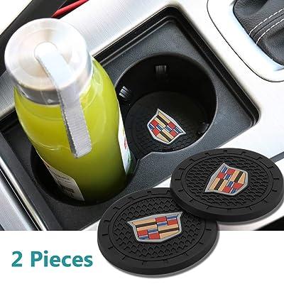 2 Pcs 2.75 inch Car Interior Accessories Anti Slip Cup Mat for Cadillac Escalade, CTS,SRX, BLS, ATS,STS, XTS, SXT,etc All Models: Automotive