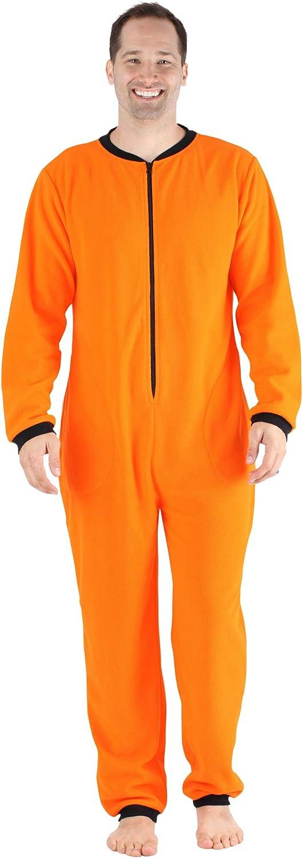 Sleepyheads Mens Fleece Non-Footed Solid Color Onesie Pajamas Jumpsuit