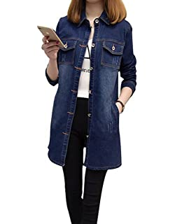 128e1cc2736fb MYtodo Women s Casual Denim Jacket Long Sleeves Solid Color Blouse Cardigan