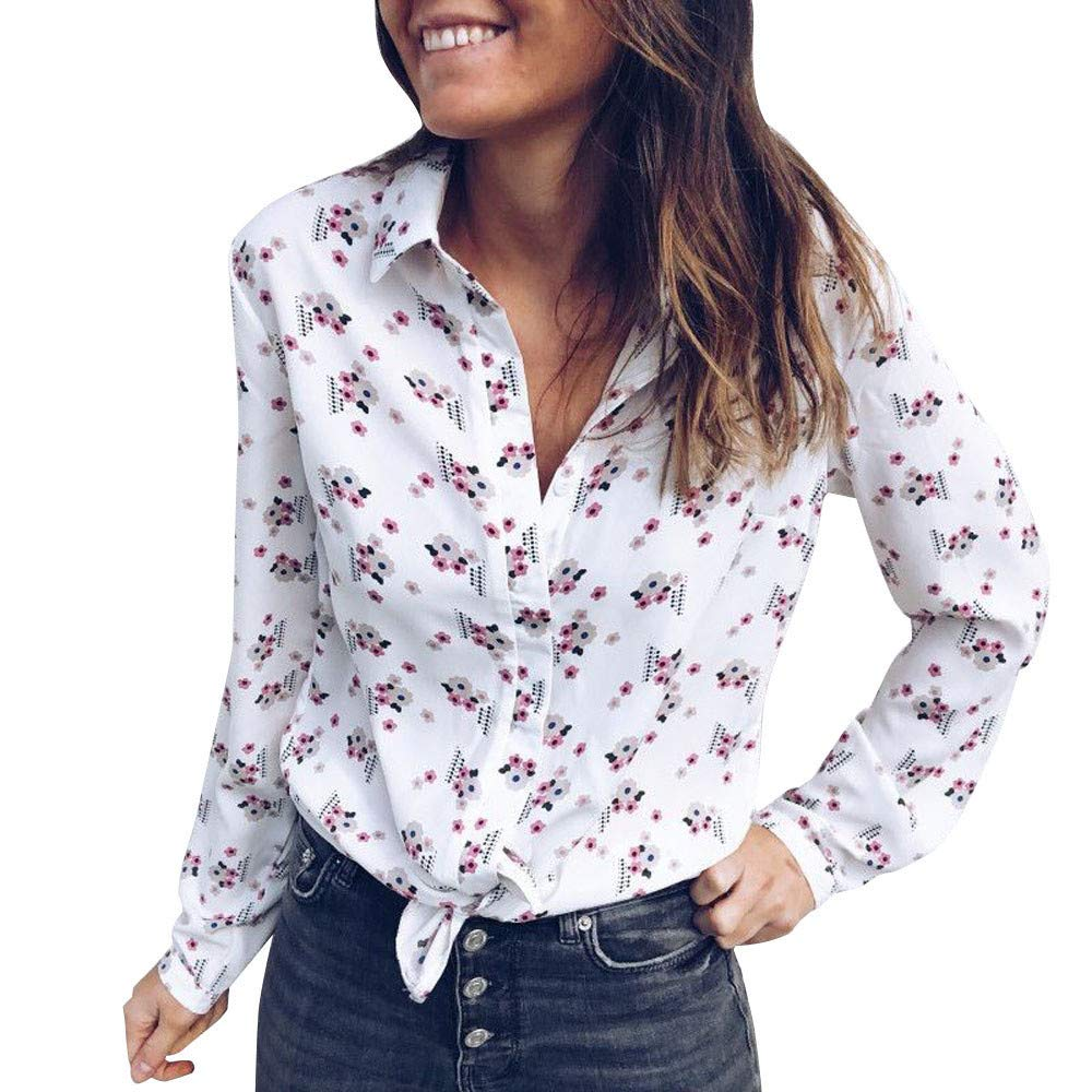 Amazon.com : Clearance!HOSOME Women Top Womens Autumn Spring Fashion Women Long Sleeve Button T Shirt Floral Print Blouse Ladies Casual Tops : Grocery ...
