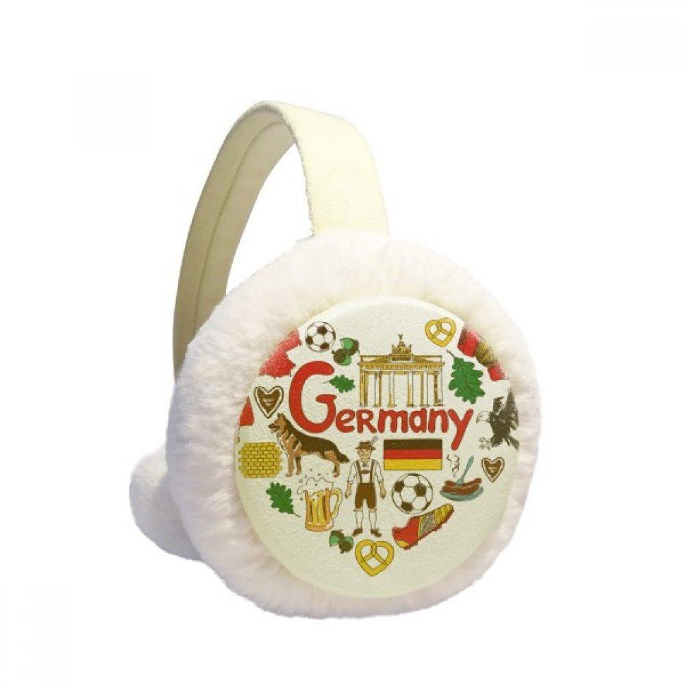 Germany Love Heart Landscap National Flag Winter Earmuffs Ear Warmers Faux Fur Foldable Plush Outdoor Gift