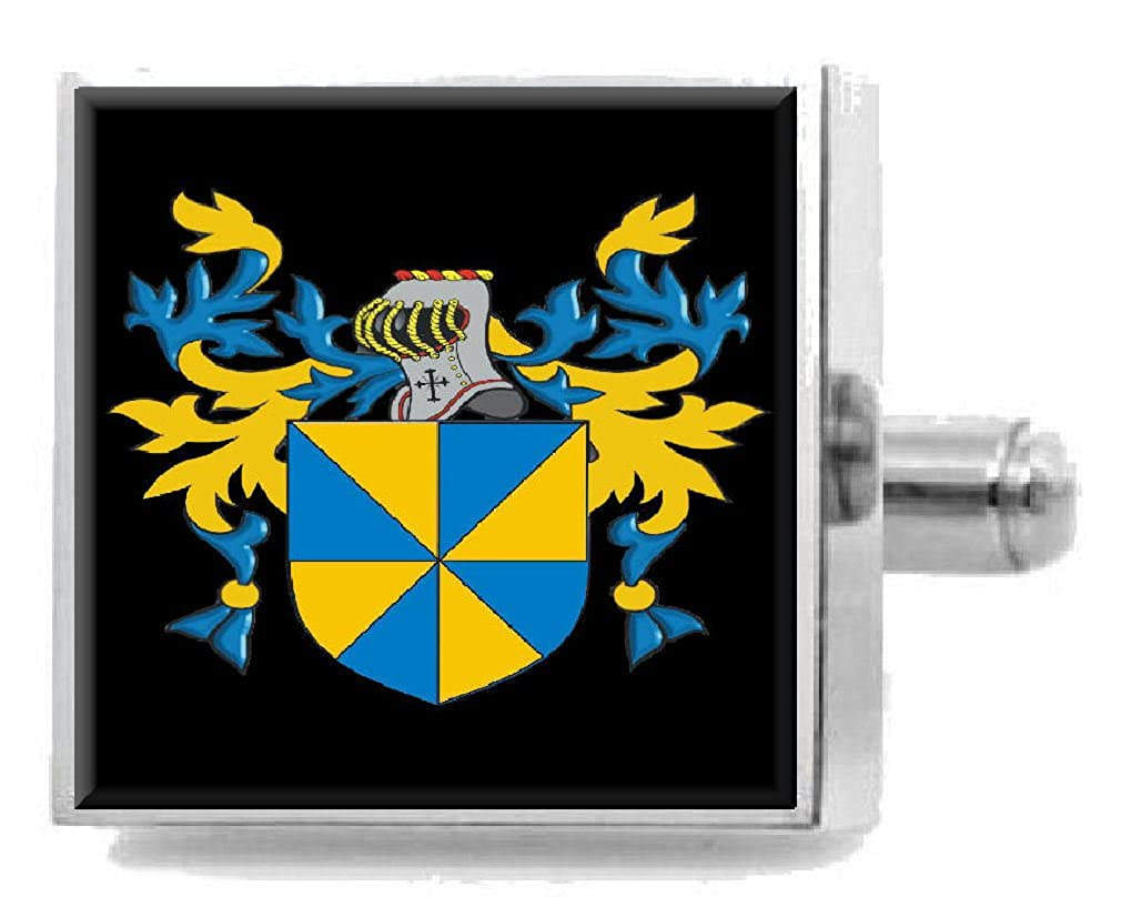 Select Gifts Mannon England Family Crest Surname Coat Of Arms Cufflinks Personalised Case