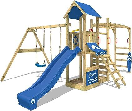 WICKEY Parque infantil de madera Smart Dock con columpio y tobogán azul, Área de juegos da exterior, Escalera Sueco con arenero y pared de escalada ...