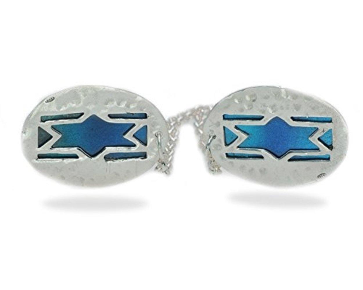 Baltinester Star Of David Tallit Clip Hammered With Enamel Israeli Flag Design Silver
