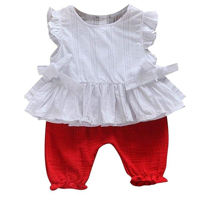 4adb7c1cb Luckycat Ropa Bebé Niñas 2PC Color SóLido Volantes Chaleco  Camiseta+Pantalones Cortos Trajes Conjunto de Ropa para Bebés Niños 6meses  - 3 años  Amazon.es  ...
