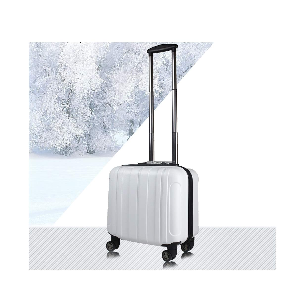 Best Gift Carrying Luggage Trolley case Color : White Simple 18 inches Huijunwenti Hard-Spinning Suitcase Travel Organizer Black The Latest Style